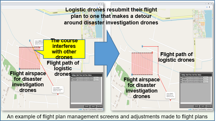 An example of flight plan management screens and adjustments made to flight plans